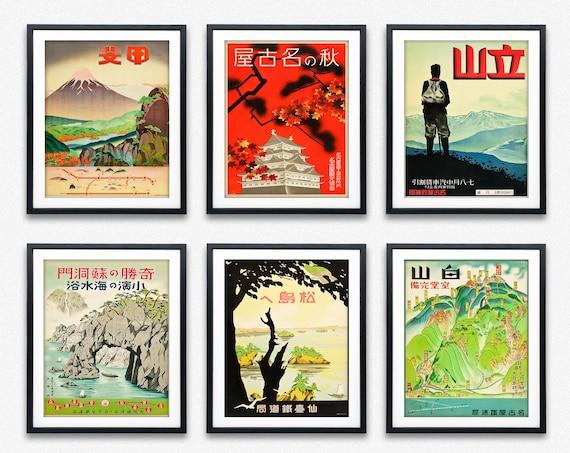 Set of 6 Japanese Posters from 1930s Japan Poster Japan Wall Art Japan Japanese Prints Vintage Railway Advertisements 6 Print Set of Posters
