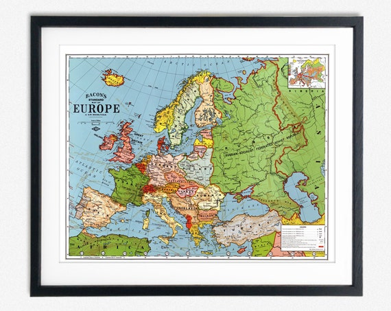 Map of Europe in the Interwar Years Vintage European Map