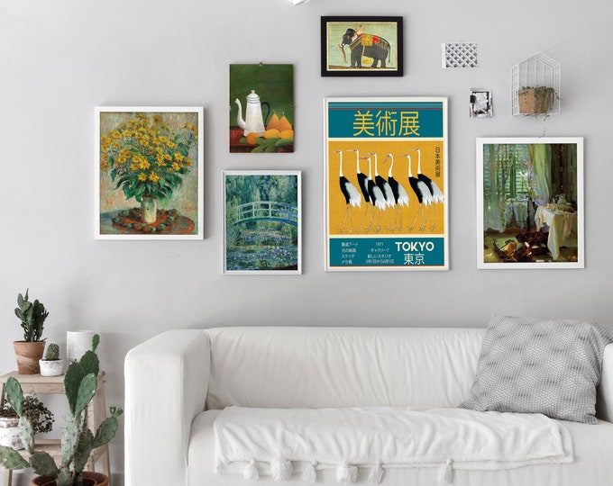 Ecology Gallery Set of 6 Green Gallery Paintings