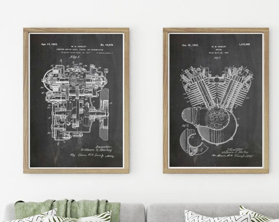 Harley Davidson Engine Patent Set of 2  Posters Harley Davidson Wall Art Harley Davidson Gifts Harley Davidson Motorcycle WB302-WB307-2F