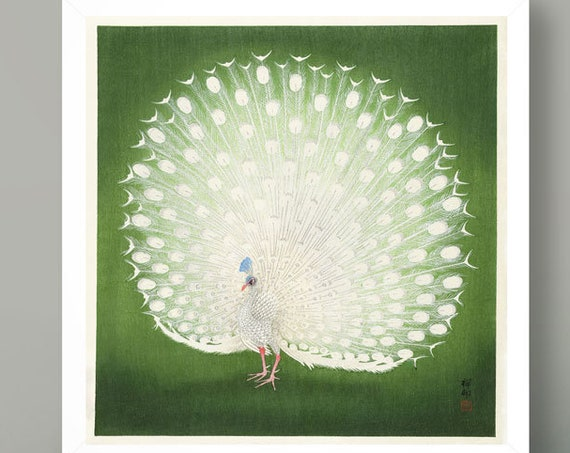 Peacock by Ohara Koson Peacock Wall Art Green Poster Japanese Poster Woodblock Poster Square Wall Art Square Print Japan Decor Japanese Art