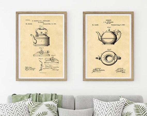 Vintage Tea Pot Prints Vintage Wall Art Tea Pot Decor Tea Pot Decor Kitchen Tea Pot Kitchen Art Modern Kitchen Decor WBOT272-WBOT274-2F