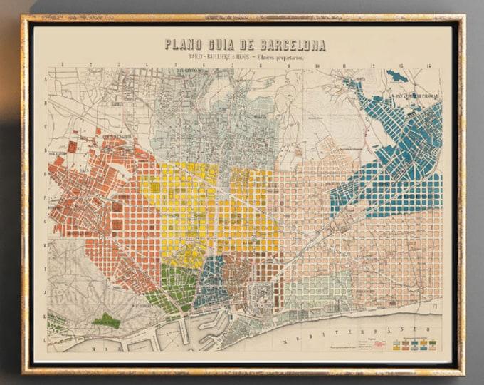 Barcelona Vintage Map of Barcelona 1911 Spanish Map Decor