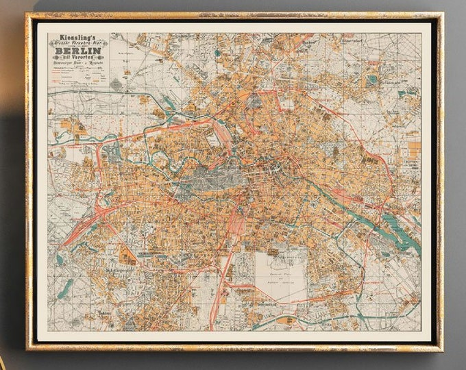 Vintage Map of Berlin 1910 Berlin City map
