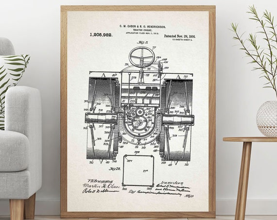 Tractor Patent Print Large Tractor Poster Tractor Wall Art Tractor Invention Tractor Blueprint Vintage Tractor Poster Farm Poster WB351