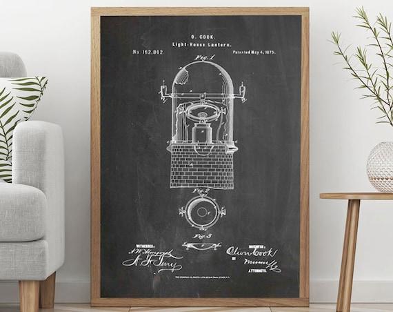 Lighthouse Print Lighthouse Decor Lighthouse Lantern Patent Print Lighthouse Poster Large Poster Print Invention Light House Blueprint WB253