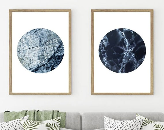 Blue Marble Circle Prints - Marble Wall Art for Kitchen - Bathroom Wall Art - Bathroom Marble Decor