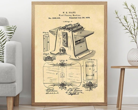 Wood Planing Machine Patent Print Woodworker Poster Joinery Poster Joinery Decor Wooden Art WB411