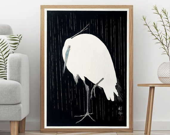Japanese Woodblock Poster Modern Japan Poster Egret in the rain by Ohara Koson 1925 Black and White Decor Black and White Art Asian Decor