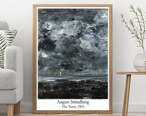 August Strindberg The Town Painting Modern Oil Painting Decor Swedish Painting Swedish Decor Swedish Art Artist Painting Strindberg Painting