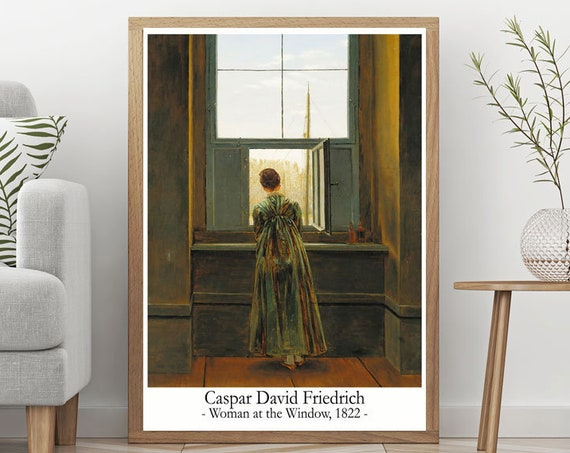 Caspar David Friedrich Woman at the Window 1822 Painting Great Painting Decor Large Oil Painting Modern Painting Kitchen Painting Decor Art