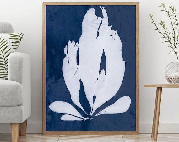 Cyanotype Print Blue and White Art by Anna Atkins Iridaea Edulis Cyan Blue Print Cyan Art Blue Poster Blue Decor Cyan Decor Photography Art
