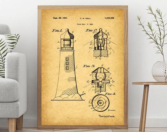 Lighthouse Poster Lighthouse Wall Art Lighthouse Blueprint Lighthouse Print Lighthouse Art Lighthouse Art Light house Print WB251