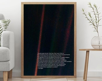 The Pale Blue Dot Poster Carl Sagan Print Astronomy Poster Science Poster Science Decor Space Poster Art Space Art Space Decor