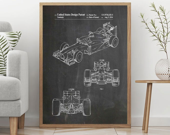 Formula 1 Racing Car Patent Print F1 Poster Formula 1 Poster F1 Gift for Formula 1 Fan Grand Prix Posters Large Car Racing Gift Decor WB341