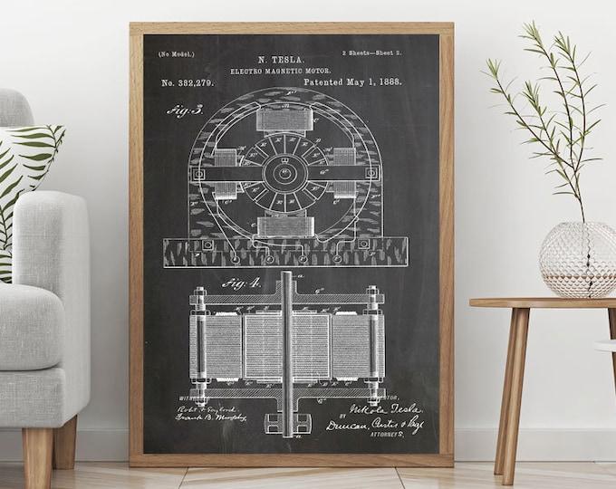 Tesla Poster Art Nikola Tesla Patent Print Electro Magnetic Motor Patent Print Engineering Wall Art Engineer Gift Mechanical Wall Art WB023