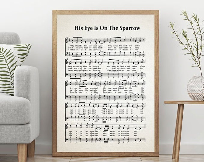 His Eye Is On The Sparrow Hymn Sheet Print Hymn Music Sheet Christian Hymn Christian Music