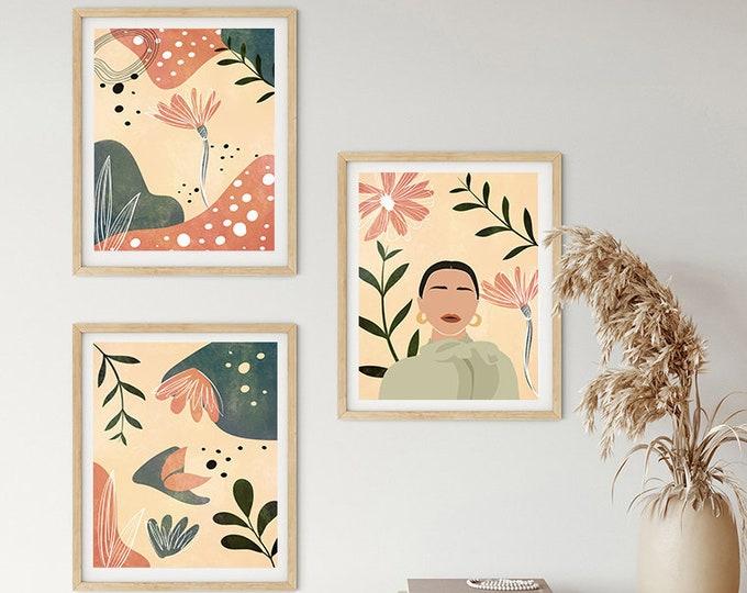 Contemporary Home Decor Set of 3 Modern Floral Prints