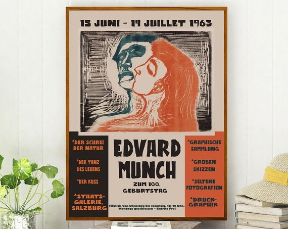 Edvard Munch Exhibition Poster 1963 Abstract Museum Poster Art