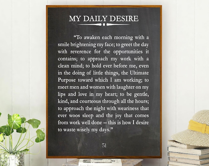 Inspiring Quote My Daily Desire by Thomas Dekker Motivational Poster