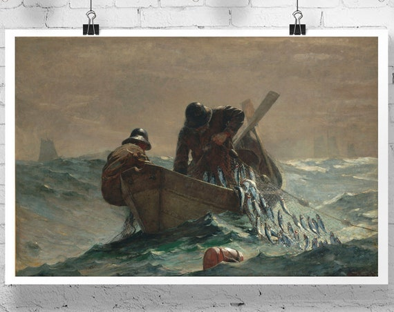 The Herring Net by Winslow Homer Painting Winslow Homer Art Fisherman Painting Fishing Decor Fishing Tackle Fishing Prints Fishermen Poster