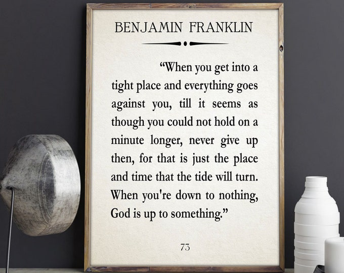 Inspiring Quote Gift Inspiring Gift Benjamin Franklin Quote Startup Quote Christmas Gift Christmas Gift Idea Gift for Friend Gift For Boss