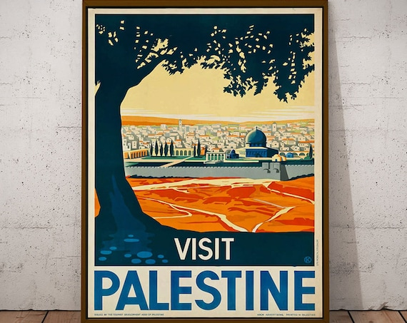 Travel Poster Middle East Vintage Palestine Travel Poster 1930s Travel Wall Art