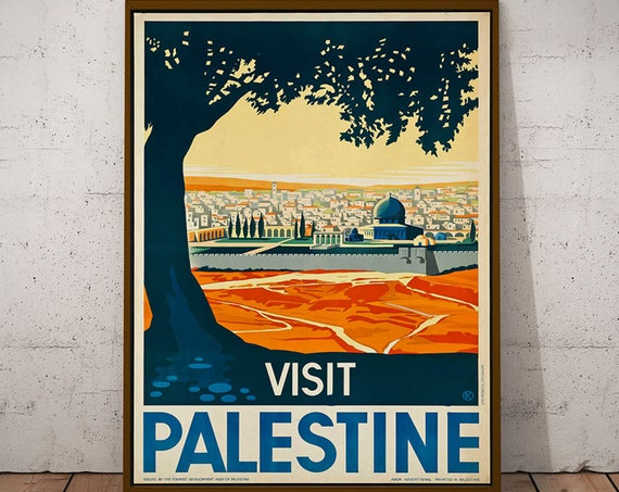 Travel Poster Middle East Vintage Palestine Travel Poster 1930s Travel Wall Art (Large Poster Art Size Available 50cm x 70cm)