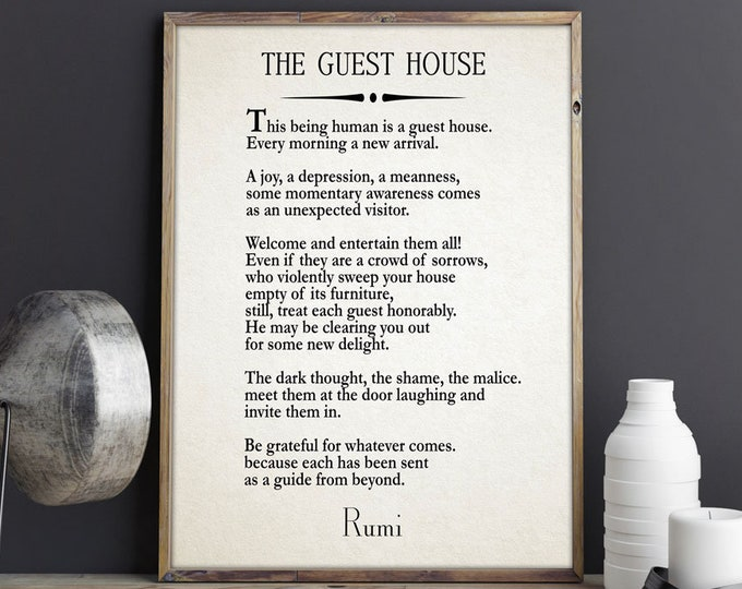 Rumi Quote The Guest House Poem by Rumi Inspiring Poem Guest House Decor Guest House Wall Art Poetry Sign Poetry Wall Art Poem Decor