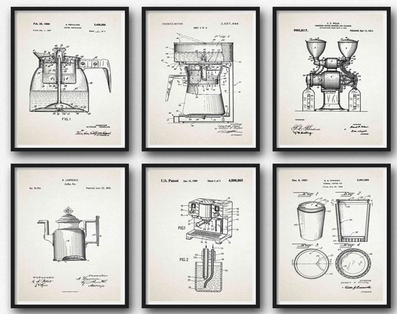 Coffee Print Set of 6 Coffee Patent Prints Coffee Blueprint Posters Coffee Machine Decor Cafe Decor Cafe Coffee Wall Art WB266-WB271