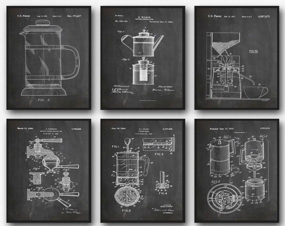 Coffee Poster Coffee Wall Art Set of 6 Coffee Patents Coffee Blueprints Coffee Art Coffee Shop Art Cafe Decor Diner Decor WB260-WB265