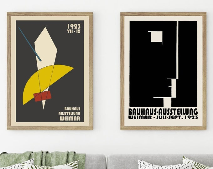 Bauhaus Posters Set of 2 Bauhaus Exhibition Posters from 1923 German Exhibition Prints