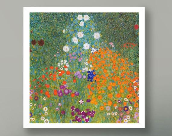 Gustav Klimpt Flower Garden Flower Painting 20th Century Masterpiece Painting Large Square Painting Square Wall Art Kitchen Art Decor