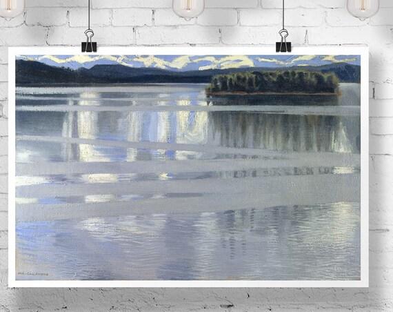 Lake Keitele by Akseli Gallen Kallela 1905 frozen Poster Frozen Lake Poster Lake Painting Lake Decor Water Poster Water painting Lake Print