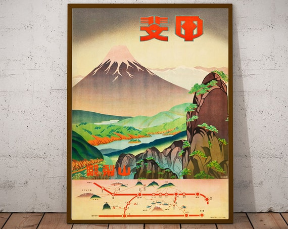 Japanese Wall Art Japan Travel Poster Mount Fuji 1930s Japanese Travel Print Asia Travel Poster (Sizes up to 50cm x 70cm)