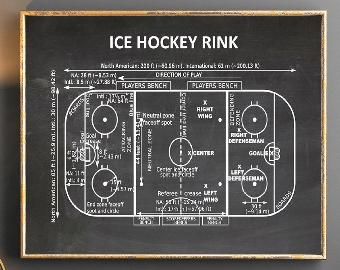 Ice Hockey Gift Ice Hockey Rink Poster Ice Hockey Poster Gift for Ice Hockey Player Ice Hockey Decor Ice Hockey Print SWB2