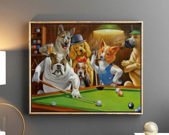 Hustler by CM Coolidge Dogs Playing Pool Wall Art
