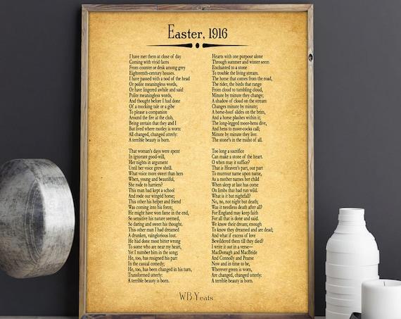 Easter 1916 Poem by WB Yeats Poetry WB Yeats Print Irish Poster Irish Decor Irish Prints Irish Wall Art Irish Gift Poetry Prints Poetry Art