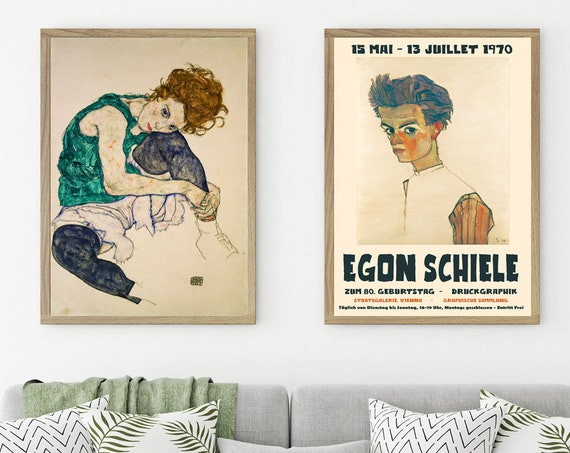 Egon Schiele Painting and Exhibition Poster Set of 2 Prints