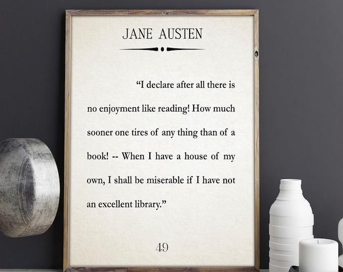 Jane Austen Quote Pride and Prejudice Quote Jane Austen Print Jane Austen Wall Art Jane Austen Book Quote Jane Jane Austin Quote Mr Darcy