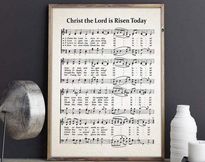 Christ The Lord Is Risen Today Hymn Sheet Hymn Music Sheet Charles Wesley Hymn Music Hymn Gift Hymn Wall Art Christian House Warming Gift