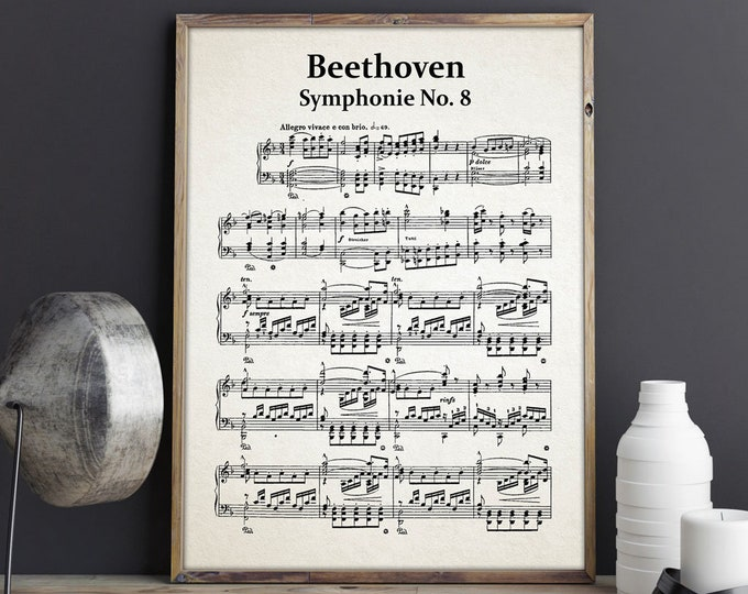 Beethoven Symphony No 8 Sheet Music Beethoven Music Gift Beethoven Decor Beethoven Wall Art Beethoven Composer Sheet Classical Music Poster