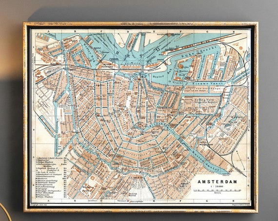 Vintage Map of Amsterdam 1905 Amsterdam City Map