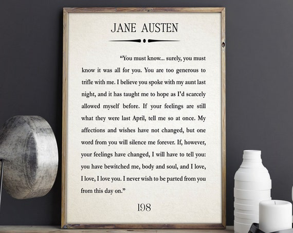 Jane Austen Book Gift Jane Austen Gift Mr Darcy Gift Pride and Prejudice Book Art Book Wall Art Jane Austen Quote Literature Gift for Book