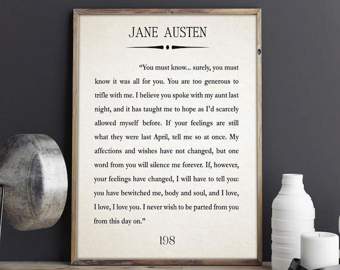 Jane Austen Book Gift Jane Austen Gift Mr Darcy Gift Pride and Prejudice Book Art Book Wall Art Jane Austen Quote Literature Gift for Book