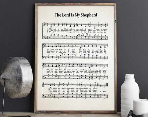 The Lord Is My Shepherd Hymn Sheet Hymn Music Sheet Posters Hymn Poster Hymn Prints Psalm Print Psalm Gift Christian Gift for Church Poster