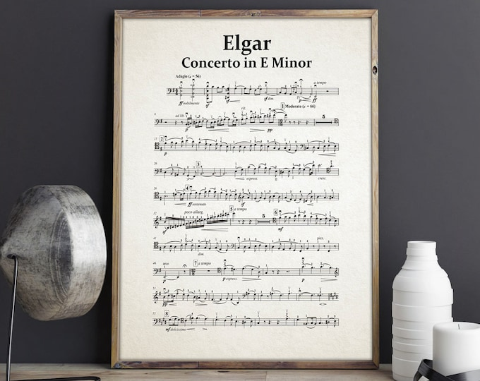 Elgar Concerto in E Minor Elgar Sheet Music Elgar Posters Elgar Music Classical Music Prints Classical Music Art Classical Music Wall Art