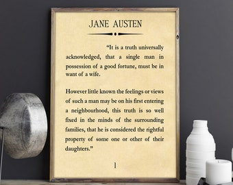 Pride and Prejudice Jane Austen Quote Book Art Book Wall Art First Page of pride and Prejudice Jane Austen Gift Mr Darcy Book Lover Gift