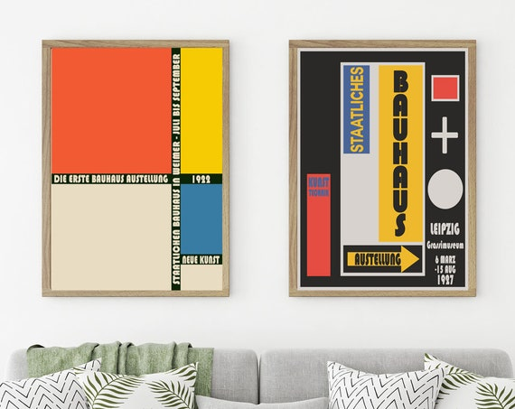 Bauhaus Poster Set of 2 Bauhaus Prints 1920s Exhibition Prints