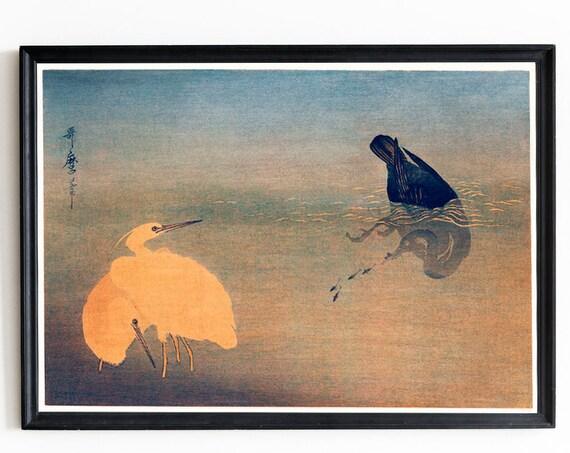 Japanese Woodblock Japanese Art U to Shirasagi by Utamaro Kitagawa Japanese Ukiyo e Style Illustration Cormorant Fish White Heron Print